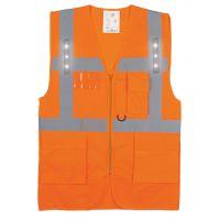 Gilet haute visibilité orange avec LED et poches