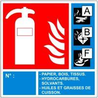 Panneau extincteur classes ABF